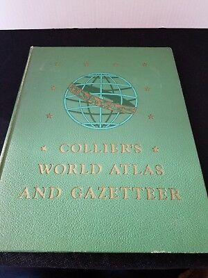 Collier's World Atlas And Gazetteer-1945 Edition Book- 336 pages-Hard Cover