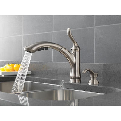 DELTA LINDEN KITCHEN Faucet One-Handle Pull-Out; Soap Dispenser; Stainless  Steel