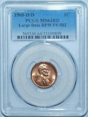 1960 D/D PCGS MS64RD FS-502 RPM Repunched Mint Mark Red Lincoln Cent