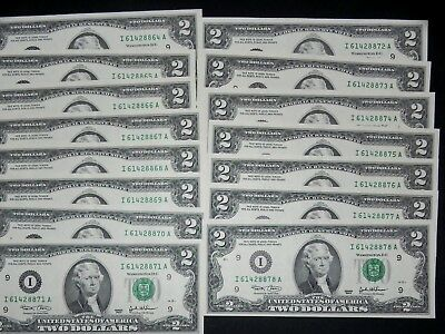 NEW Uncirculated Two Dollar Bill Crisp $2 Note Lot  from 1976 - 2013  All Unc