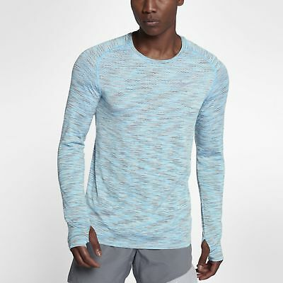 f8f99ea5c Men's Nike Dri-Fit Knit Long Sleeve Running Top Grey Blue Size MEDIUM 833565  067