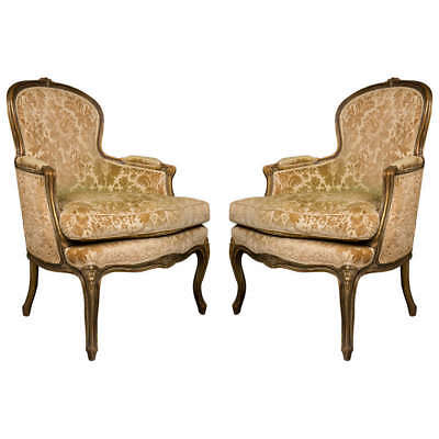Pair of French Walnut Bergere Chairs