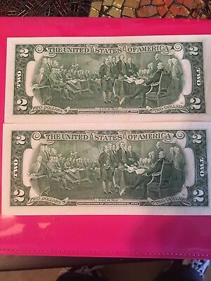 2 2013 Two Dollar Star Notes Uncirculated With Consecutive low serial # 00212988
