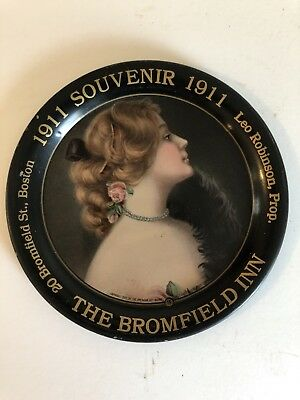 The American Art Works 1911 The Bromfield Inn Advertising  Tip Tray Colorful