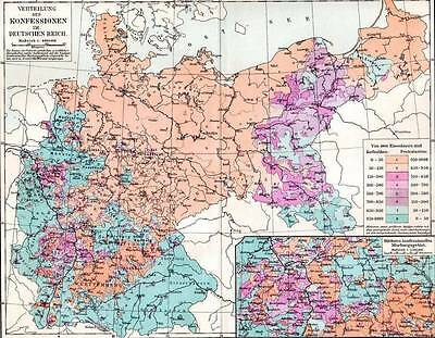 1897 Antique Map Denominations of the German Empire Chromolithograph Print