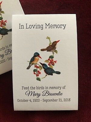Birdseed Funeral Memorial Favors 25 Seed Packets Personalized Seeds Included