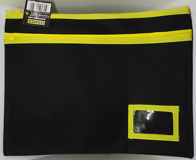 Osmer Pencil Case Large Black 350 x 260 mm 2 Yellow zips with name insert LOT 20