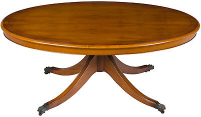 Vintage Antique Style English Oval Yew Coffee Cocktail Table on Pedestal Base
