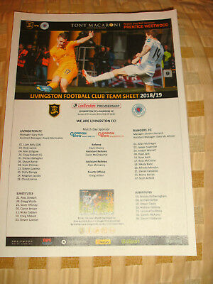 LIVINGSTON v RANGERS 27/1/2019 100% OFFICIAL TEAM SHEET
