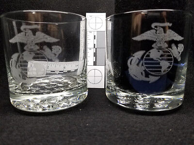 Laser Engraved 4 inch Rocks/old fashion glass set of 2 - Marine Corps emblem