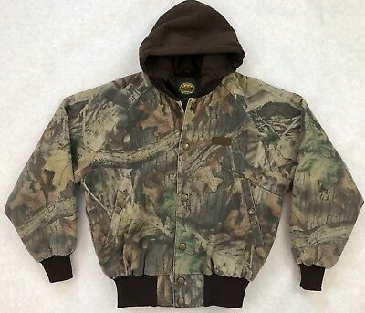 7988f39e33d8f Cabelas Advantage Timber Camo Quilt Lined Hooded Jacket Youth M Insulated  EUC