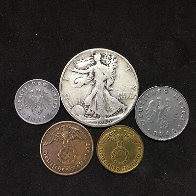 Silver Walking Liberty Half Dollar Nazi Germany Zinc & Bronze 3rd Reich Coin Lot