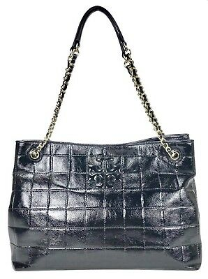 b390ad87058bc  550 LNWOT Tory Burch Marion Quilted Patent Leather Black Shoulder Tote