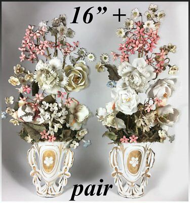 """Antique French Hand Made Porcelain Flower Bouquet PAIR, Old Paris Vase, 16"""" Tall"""