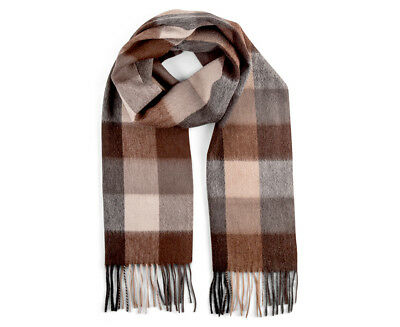 OZWEAR Connection Ugg 100% Merino Wool Scarf - Check Brown/Cream