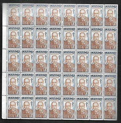 pk41137:Stamps-Canada #495 Sir William Osler 40 x 6 cent Partial Sheet -MNH