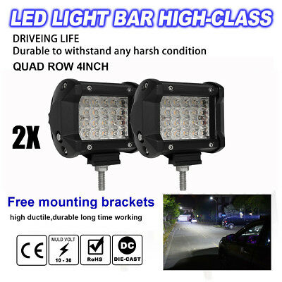 "480W 4"" LED Combo Work Light Bar Spotlight Off-road Driving Fog Lamp Truck Boat"