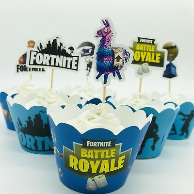 12x Fortnite Cupcake Wrapper & Topper. Party Supplies Cake Bunting Banner Flag