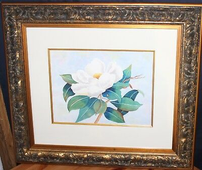 Original  Art Water Color By D Muller Canadian  Untitled White Flower  11X14""