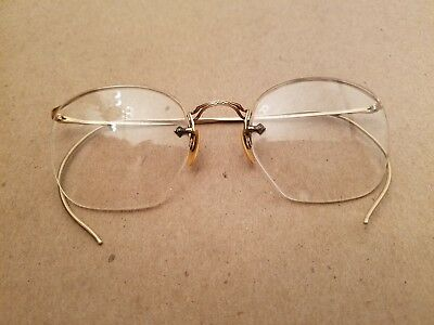 827241c9e53 Vintage Etched Wire Rimless Glasses Eyeglasses 1 10 12K Gold Filled  Spectacles