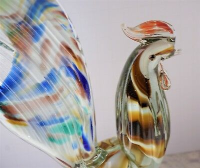 "VERY RARE! 10.5"" Vintage Antique Hand Blown Glass Rooster Peacock Bird Murano"