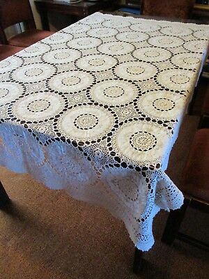 GORGEOUS VINTAGE CROCHET & EMBROIDERED COTTON ECRU BEIGE TABLECLOTH – 176cm x 12