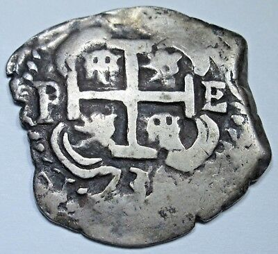 1736 Spanish Silver 2 Reales Piece of 8 Cob Real Colonial Pirate Treasure Coin
