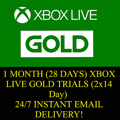 1 MONTH (28 Days) XBOX LIVE GOLD TRIALS (2x 14 Day) INSTANT EMAIL DELIVERY