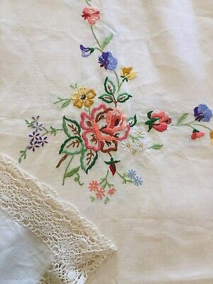 Hand Embroidered Linen Tablecloth With Cotton Lace - Stunning - 140cm X 143cm