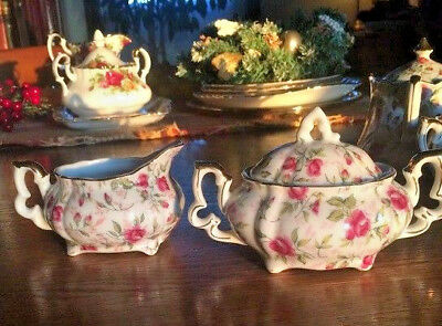 LEFTON ROSE CHINTZ Sugar Bowl with Lid and Creamer 663R (4 sets avail) FREE SHIP