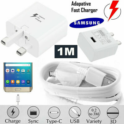 Genuine Fast Charger Plug & Cable For Samsung Galaxy S7 S6 Edge Note 4