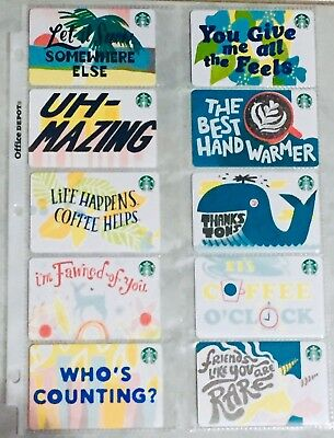 Lot 10 Starbucks WINTER 2019 (Recycled Paper) gift card set NEW!
