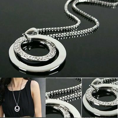 Rhinestone Double Circle Pendant Necklace Long Chain - FINAL SALE