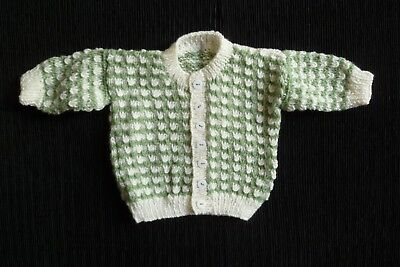 Baby clothes UNISEX BOY GIRL 0-3m soft cream/green patterned cardigan pro knit