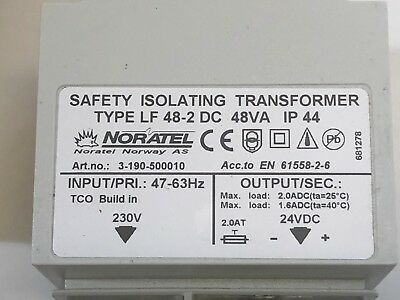 Safety isolation Transformer 230ac -48 dc 2A Built in fuse. 47-63hz Noratel