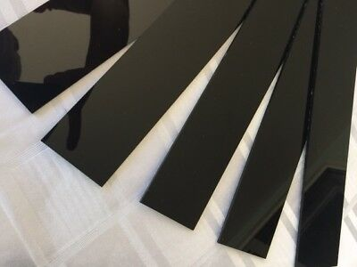 SET OF 12 HIGH GLOSS BLACK PERSPEX STRIPS 23cm x 2.5 x 3 mm thick