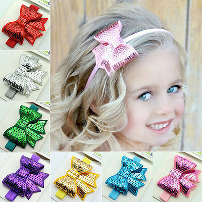 Baby Girls Kid Sequin Bowknot for Headband Hair Band Bow Accessory Headwear Sl