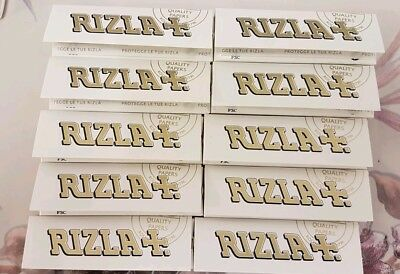 Rizla White Perforated Regular Standard Rolling Papers-10 BOOKLETS-50 LEAVES