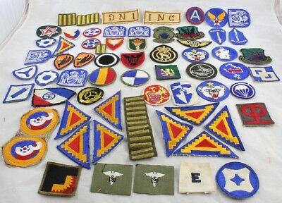 HUGE VINTAGE LOT 75+ WWII Era U S  Military Patches Navy