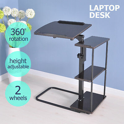 Adjustable Over bed Laptop Portable Computer Side Desk Sit Stand Table Wheels
