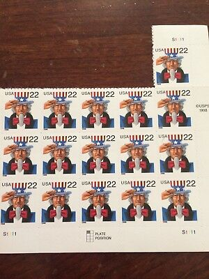 Uncle Sam Stamp Incomplete Sheet -- Usa #3259 22 Cent  1993