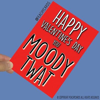 Funny Valentine/'s Day Cards Moody Bitch Wife Girlfriend Banter Offensive PC699