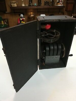 Vintage Antique Telephone Hand Crank Magneto Generator With Light Bulb For Demo