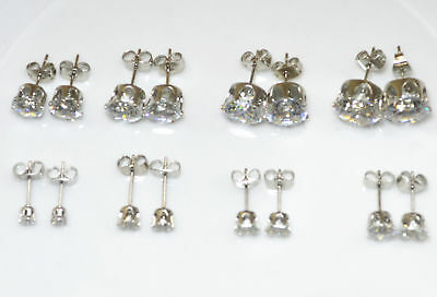 WOMEN MEN REAL 18k WHITE GOLD PLATED CUBIC ZIRCONIA ROUND STUD EARRINGS GIFT