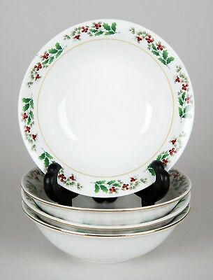 Gibson Holiday Gold Soup Cereal Bowls, Set of (4), Christmas Holly Berries