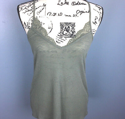 fcf81421f2 EXPRESS ONE ELEVEN Size Medium M Women s Cami Green Sleeveless Front Top  Lace