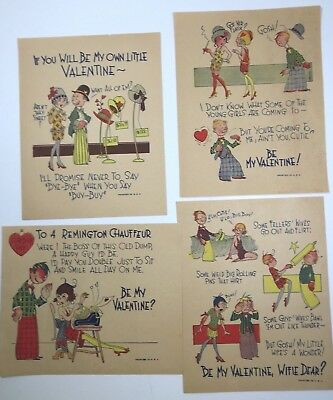 """Vintage Valentines, Penny Dreadful Or Vinegars 5 X 7"""" Lot Of 4, Mint Condition"""