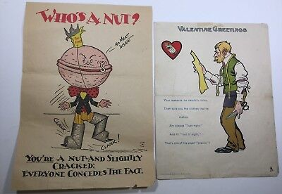 """Vintage Valentines, Penny Dreadful Or Vinegars 5 X 7"""" Lot Of 2, 1 By  R. Tuck!"""