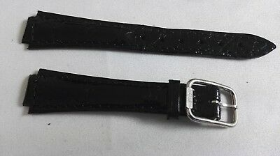 Philip Watch vintage leather strap black mm 18/12 steel buckle mm 12 nos