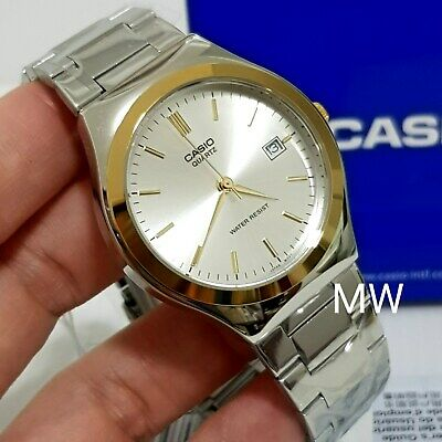 Casio White Silver Dial Gold Tone Stainless Steel Analog Men Watch MTP-1170G-7A